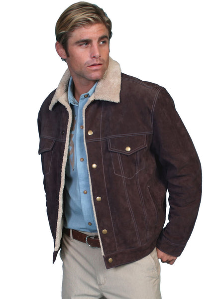 Men's Scully Sherpa Lined Boar Suede Western Jacket 113-86 Chocolate