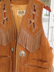 Scully Leather Mens Western Handlaced Bead Trim Vest Bourbon 755-409