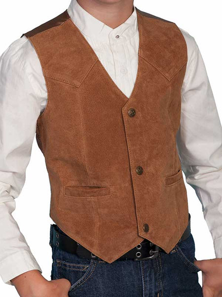 Scully Leather Kids Boys Bourbon Boar Suede Western Vest 2002-SUEDE