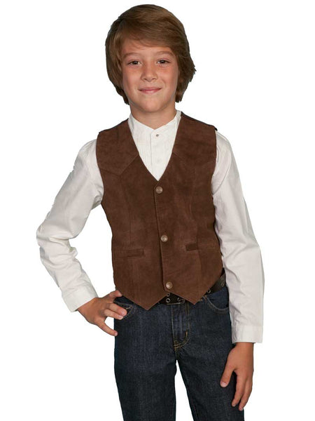 Scully Leather Kids Boys Expresso Boar Suede Western Vest 2002-ESP