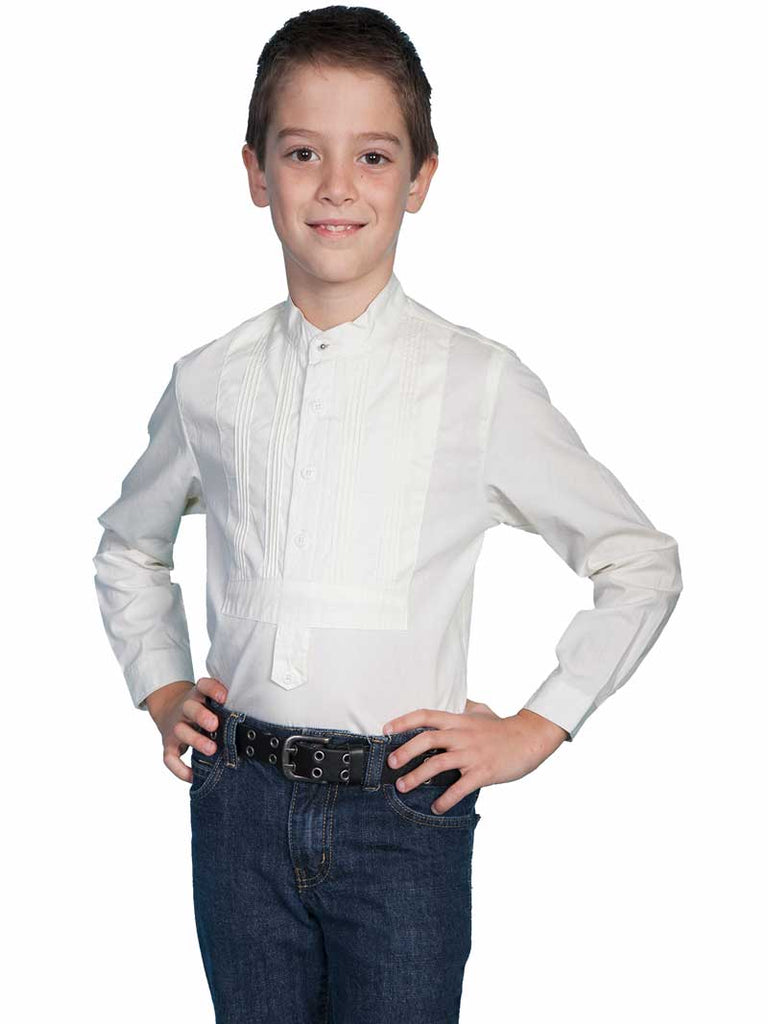 Scully Rangewear Boys Ivory 100% Cotton L/S Tuxedo Front Shirt RW032K Ivory