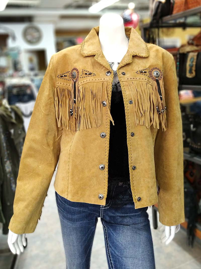 Scully  L152-126 Womens Fringe Suede Beaded Jacket Old Rust