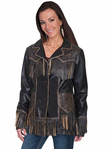 Scully Fringe and Tooled Details Brown Western Leather Jacket L727-259 Scully - J.C. Western® Wear