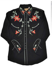 Scully P-633-BLK Mens Floral Embroidery Western Snap Shirt Black