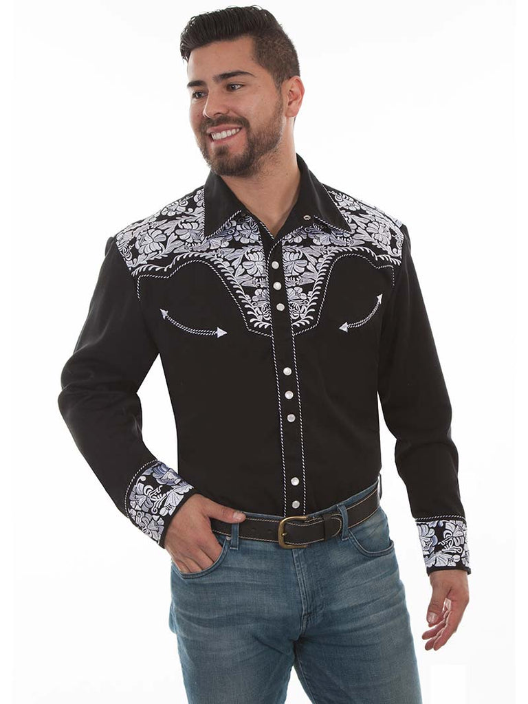 Scully Mens Floral Tooled Embroidered Western Shirt P-634 Black White