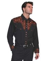 Scully Black Copper Floral Tooled Embroidered Western Shirt P-634 Black