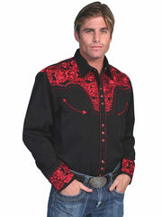 Scully Black Western Shirt with Red Floral Tooled Embroidery P-634 Crimson