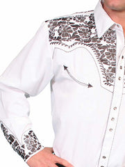 Scully Mens Floral Tooled Stitch Western Shirt P-634 Pewter