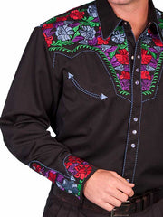 Scully Mens Shirt White Poly Blend Bright Floral Stitch Western Shirt P-634C
