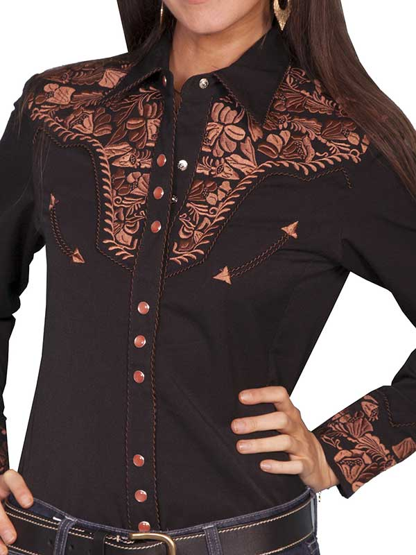 Scully Western Womens Black Polyester L/S Floral Stitch Western Shirt PL-654-BLK Scully - J.C. Western® Wear