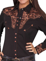 Scully PL-654 Womens Polyester L/S Floral Stitch Western Shirt Black - B