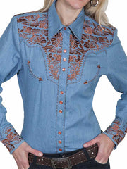 Scully Western Womens Blue Polyester L/S Floral Stitch Western Shirt PL-654-BLU