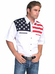Scully Mens White American Flag Western Shirt P-756SS