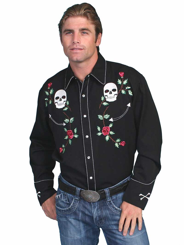 Scully Mens Black Polyester Skull Rosses Western Shirt P-771
