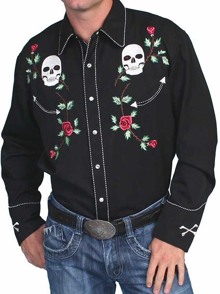 Scully Black Polyester Skull Rosses Western Shirt P-771