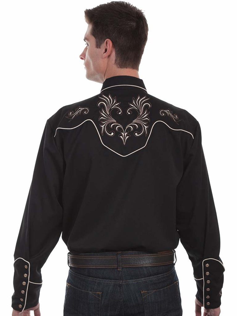 Scully Mens Floral Scrolls Embroidered Western Shirt P-870 Black