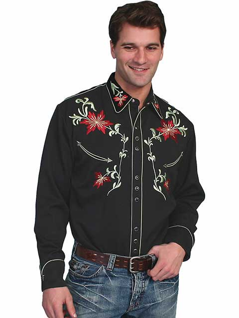 Men's Scully Black Floral Embroidery Western Snap Shirt P-633 Front