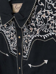 Scully Womens Floral Scroll Embroidered Western Snap Shirt PL-866 Black