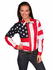 Scully RangeWear Red American Flag Western Shirt RW029L