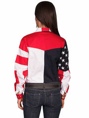 Scully RW029L Women's RangeWear Red American Flag Western Shirtrn Shirt RW029L