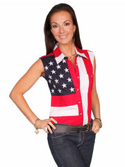 Scully RangeWear Red Flag Sleeveless Western Shirt RW029LSS