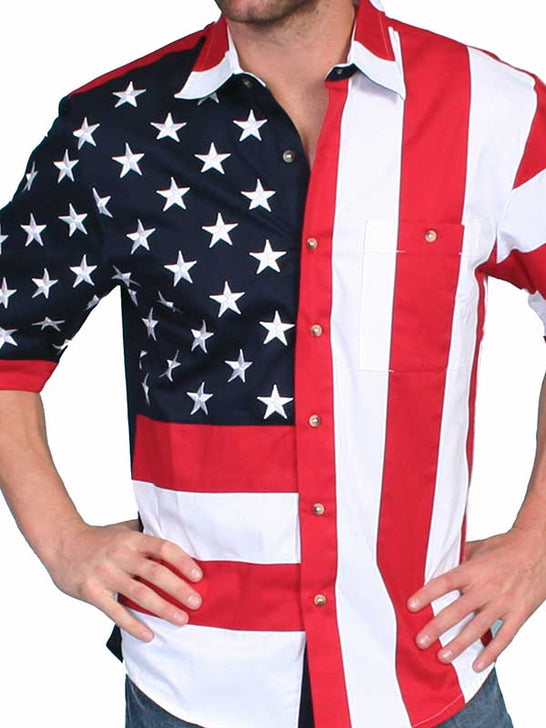 Close up of Scully RW029SS Mens Red White and Blue American Flag SS Western Shirt
