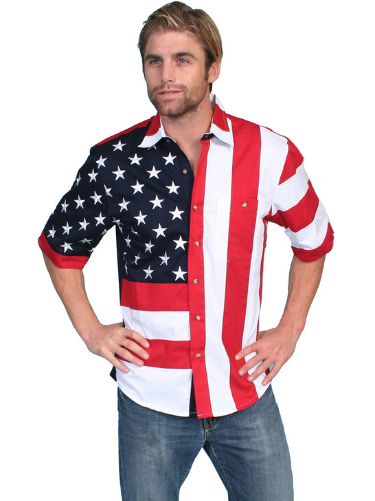 Scully RW029SS Mens Red White and Blue American Flag SS Western Shirt Front