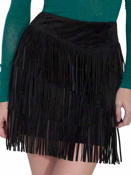 Scully Leatherwear Womens Black Cinnamon Boar Suede Leather Fringe Skirt L704-19