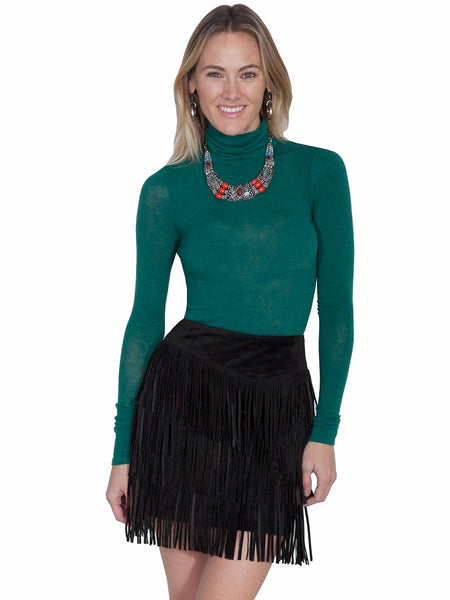 Scully Leatherwear Womens Black Boar Suede Leather Fringe Skirt L704-19