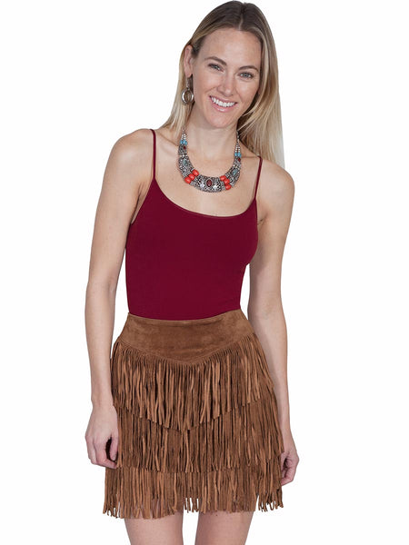 Scully Leatherwear Womens Black/Cinnamon Boar Suede Leather Fringe Skirt L704