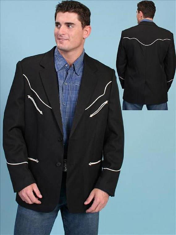 Scully Mens Button Front Solid Contrast Piping Western Blazer P-656 Scully - J.C. Western® Wear