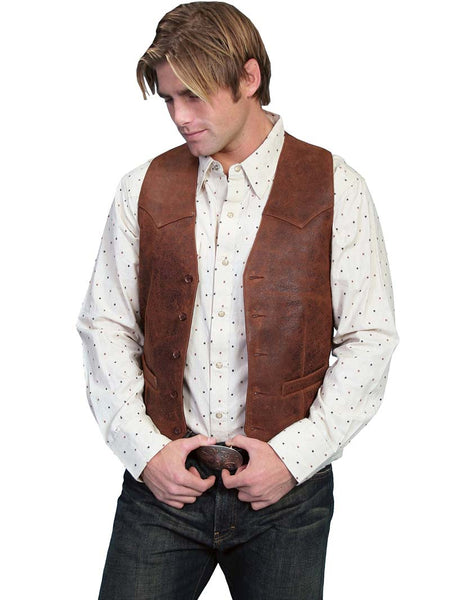 Men's Scully Leather Western Lambskin Button Front Vest Brown 503-60