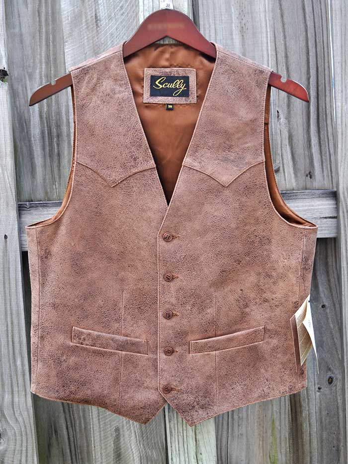 Scully 503-60 Mens Lambskin Button Front Vest Brown