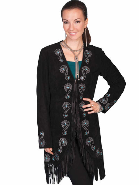 Scully Leather Womens Fringe Silver Embroidered Boar Suede Jacket Black L165-19