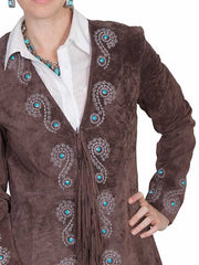 Scully L165-67 Womens Fringe Silver Embroidered Boar Suede Jacket Expresso