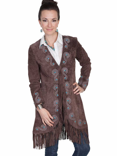 Scully Leather Womens Fringe Silver Embroidered Boar Suede Jacket Expresso L165-67