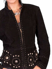 Scully Leather Womens Studded Conchos Boar Suede Jacket Black L191-19