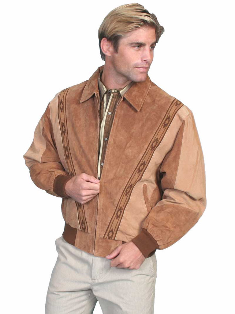 Scully Western Boar Suede Rodeo Leather Jacket Cafe Brown Camel 62-174