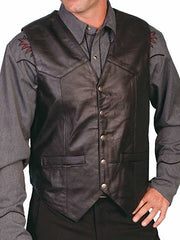 Scully Leather Soft Touch Lambskin Snap Front Black Vest 507-144