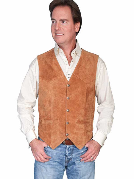 Scully Leather Mens Western Lambskin Snap Front Vest Rust 507-212