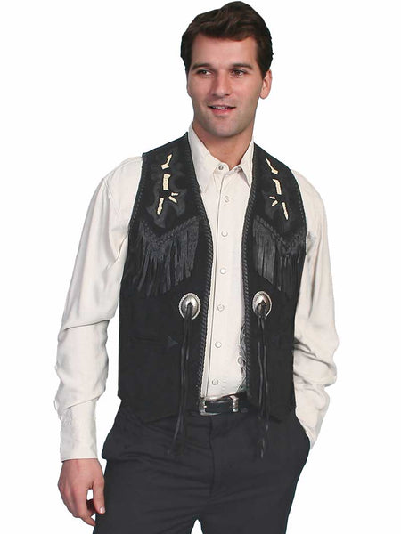 Scully Leather Mens Western Handlaced Bead Trim Vest Black 755-19