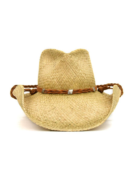 Shady Brady Braided Stampe String Crushable Straw Hats 1DW91C3 Front view at JC Western