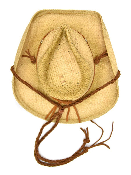 Shady Brady Braided Stampe String Crushable Straw Hats 1DW9103 from Top view