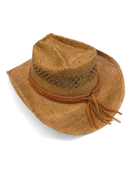 Shady Brady 1WW70 Concho Leather Band Crushable Straw Hat Natural back