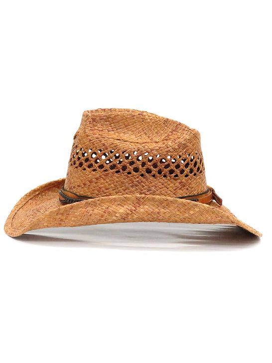 Shady Brady Laced Leather Hat Band Crushable Straw Hats 1WW90 SIDE