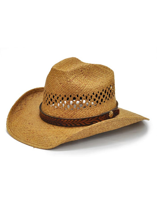 Shady Brady Leather Hat Band Natural Straw Hat 1WW03 Side Front at JC Western Wear