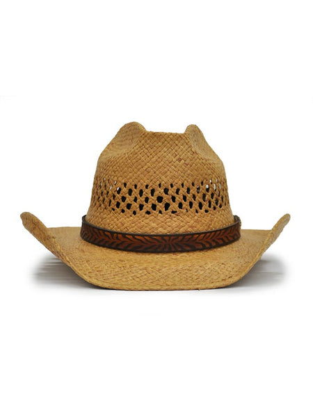 Shady Brady Leather Hat Band Natural Straw Hat 1WW03 Front