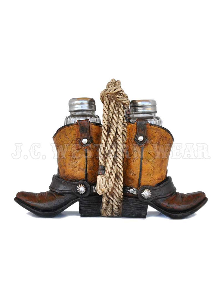 Lasso Rope with Cowboy Boots Salt and Pepper Shaker Set SP541