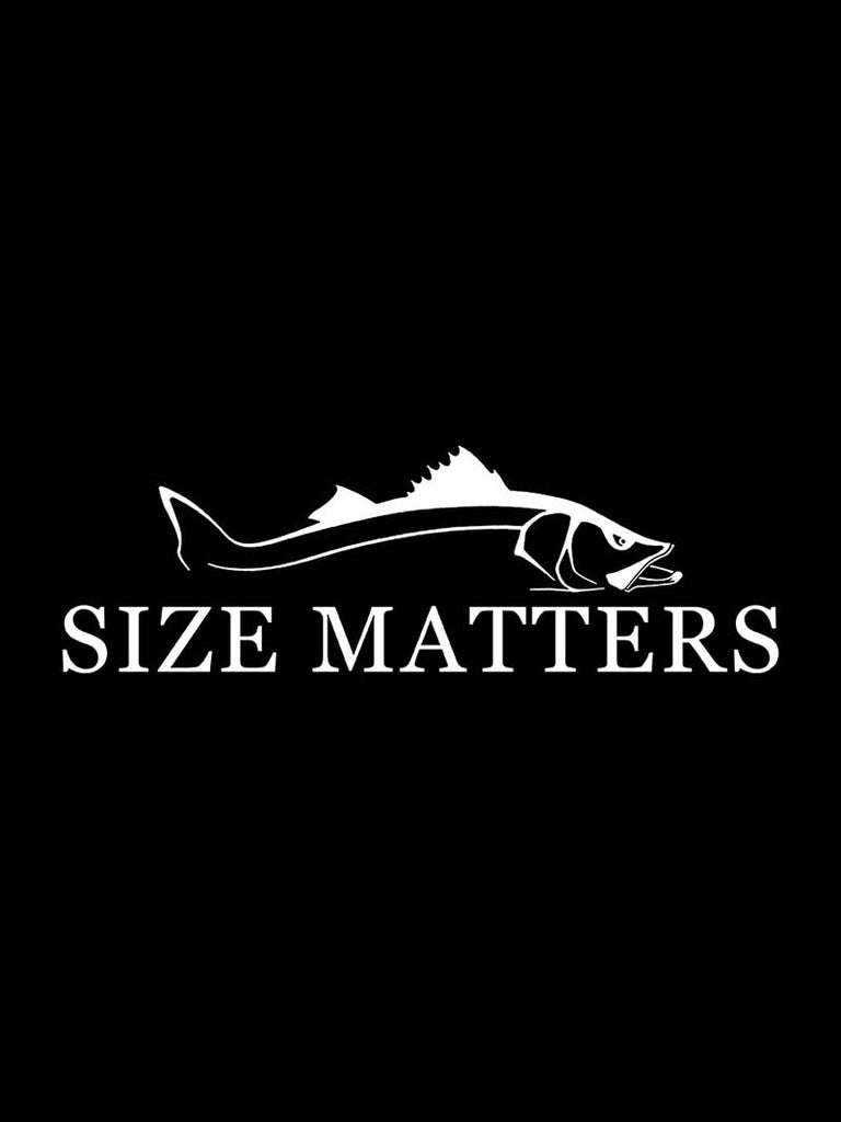 "Size Matters Snook Bumper Decal Sticker - 12"" X 4"""