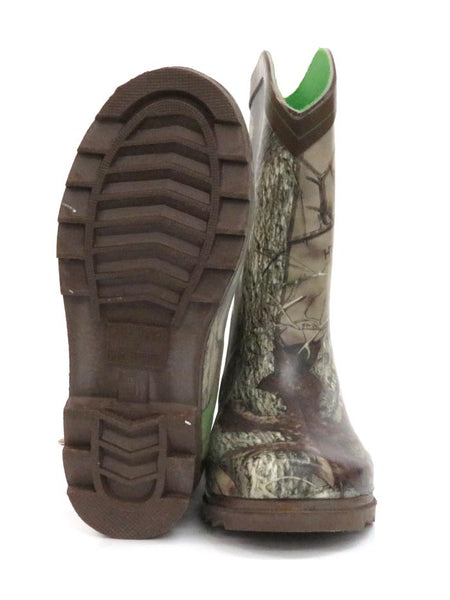 Smoky Mountain Kids Muddy River Waterproof Boots 2723Y 2723C Camo at JC Western Wear Front and Sole
